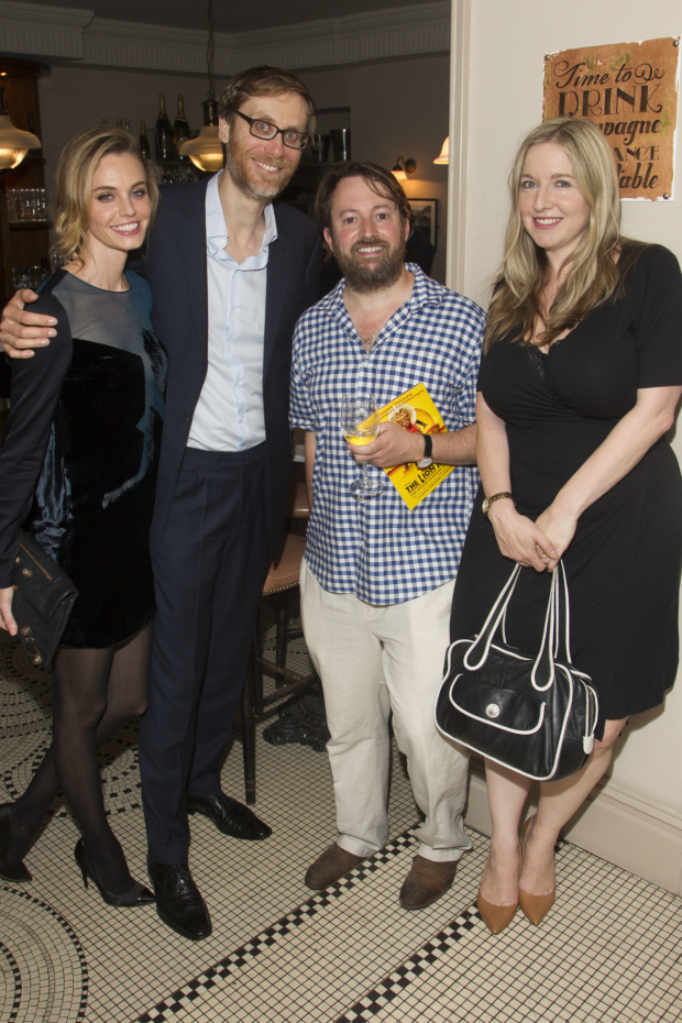 <p>Christine Marzano, Stephen Merchant (Ted), David Mitchell and Victoria Coren Mitchell</p><br />© Dan Wooller for WhatsOnStage