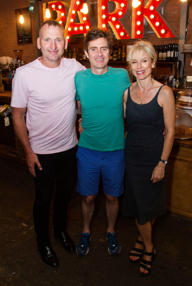 <p>Christopher Eccleston, Paul Higgins (Barry/Basil) and Amelia Bullmore</p><br />© Dan Wooller for WhatsOnStage
