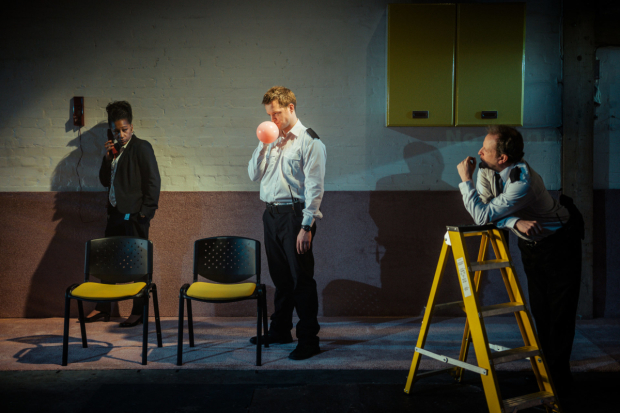 <p>Clare Perkins (Beatrice), Mark Field (Mo) and Barnaby Power (George)  in <em>Removal Men</em></p><br />© Caleb Wissun-Bhide