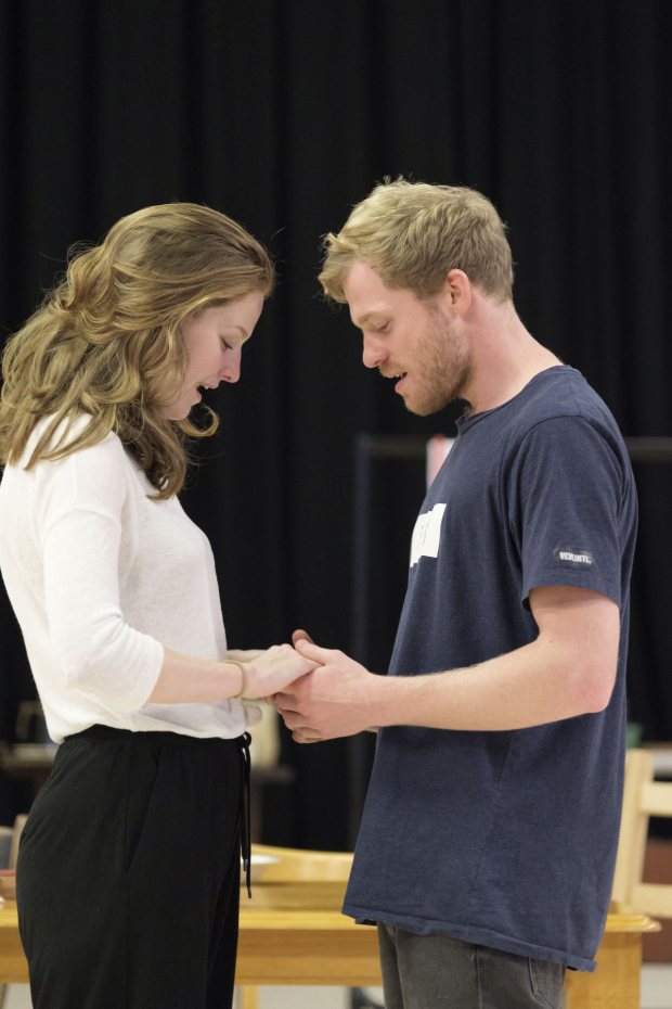 <p>Claudia Jolly and Sam Reid in rehearsals for <em>Girl from the North Country</em></p><br />© Manuel Harlan