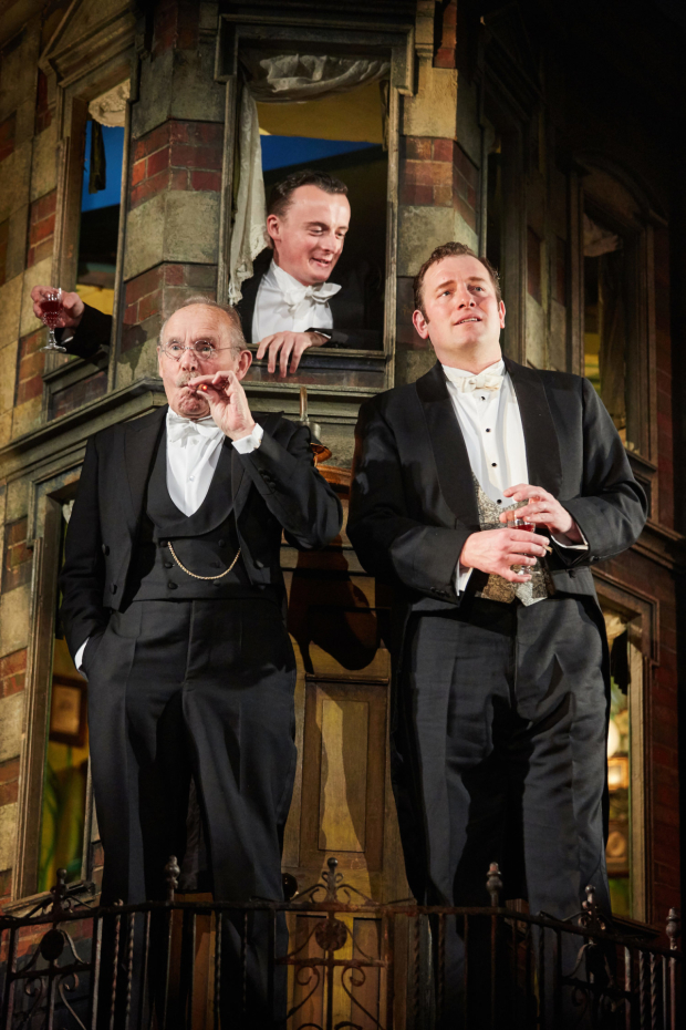 <p>Clive Francis, Hamish Riddle and Matthew Douglas   in  <em>An Inspector Calls</em></p><br />©  Mark Douet