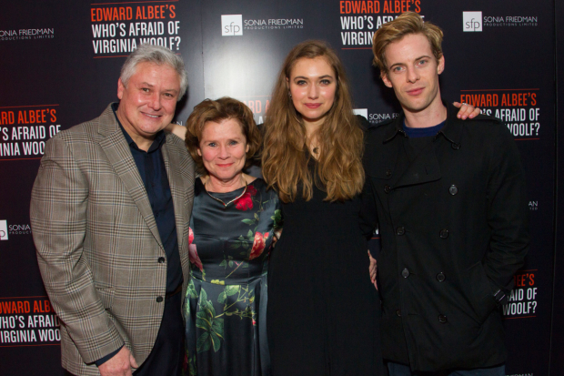<p>Conleth Hill (George), Imelda Staunton (Martha), Imogen Poots (Honey) and Luke Treadaway (Nick)</p><br />©  Dan Wooller for WhatsOnStage