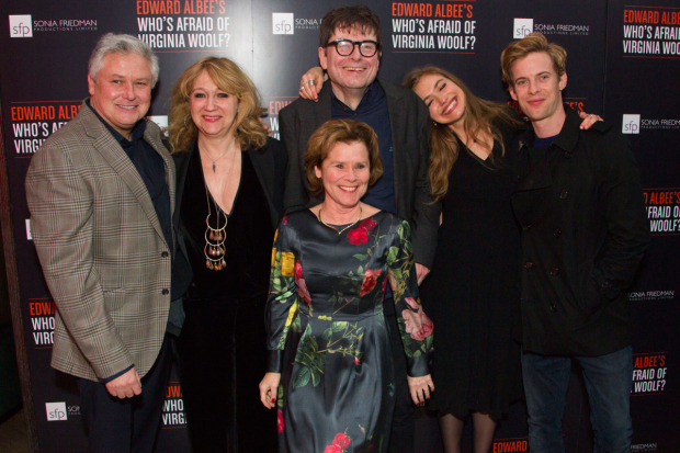 <p>Conleth Hill (George), Sonia Friedman (producer), Imelda Staunton (Martha), James Macdonald (Director), Imogen Poots (Honey) and Luke Treadaway (Nick)</p><br />©  Dan Wooller for WhatsOnStage