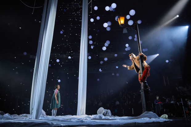 <p>Cora Kirk as Lucy and Peter Caulfield as Mr Tumnus</p><br />© Brinkhoff-Moegenburg