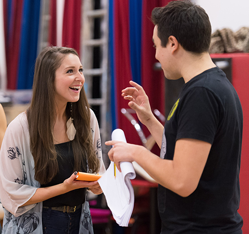 <p>Cordelia Farnsworth (Sherrie) and Noel Sullivan (Drew) in rehearsal for <em>Rock of Ages The Musical</em> UK Tour</p><br />© Manuel Harlan