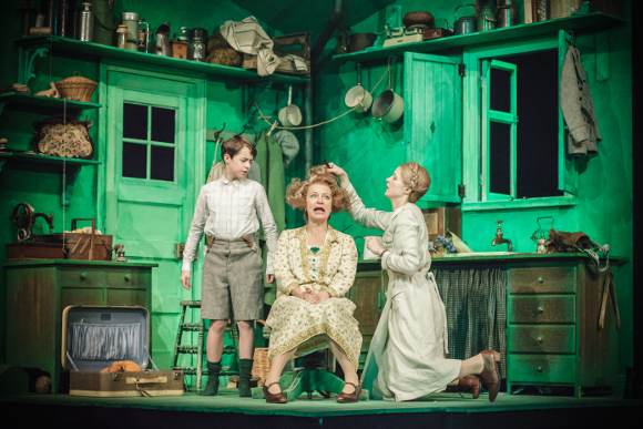 <p>Daniel Patten (Emil), Tamzin Griffin (Mrs Wirth) and Naomi Frederick (Ida)</p><br />© Marc Brenner