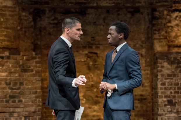 <p>Daniel Rabin (Kent) and David Jonsson (Davison) in <em>Mary Stuart</em></p><br />© Manuel Harlan