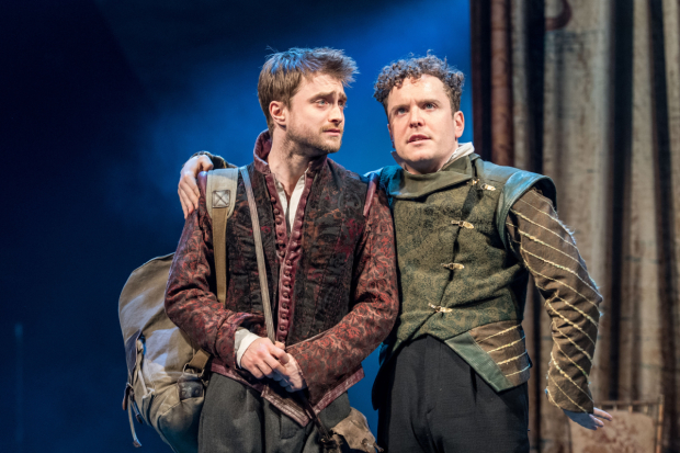 <p>Daniel Radcliffe (Rosencrantz) and Joshua McGuire (Guildenstern) in <em>Rosencrantz &amp&#x3B; Guildenstern Are Dead</em></p>