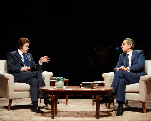 <p>Daniel Rigby and Jonathan Hyde as Nixon and Frost</p><br />© Mark Douet