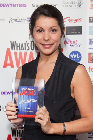 <p>Danielle Tarento collects the Award for Best Off-West End Production for <em>Titanic</em></p><br />© Dan Wooller for WhatsOnStage