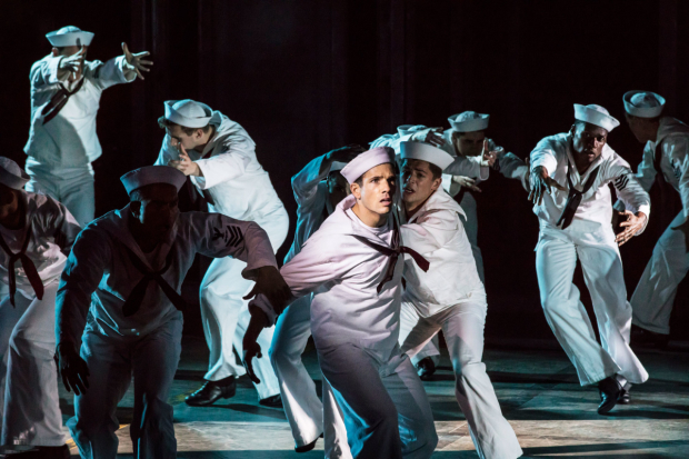 <p>Danny Mac as Gabey and the cast of  <em>On the Town</em></p><br />© Johan Persson