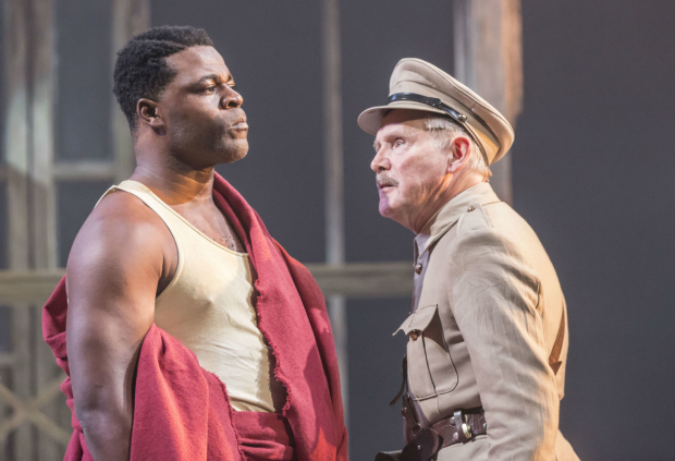 <p>Danny Sapani (Tshembe Matoseh) and Clive Francis (Major George Rice) in <em>Les Blancs</em></p><br />© Johan Persson