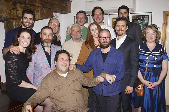 <p>David Babani (artistic director), Mike McShane (Samuel Byck), Catherine Tate (Sara Jane Moore), Stephen Sondheim (Music/Lyrics), Andy Nyman (Charles Guiteau), Jamie Lloyd (director), Carly Bawden (Lynette &#39&#x3B;Squeaky&#39&#x3B; Fromme), Aaron Tveit (John Wilkes Booth) and members of the cast</p><br />© Dan Wooller for WhatsOnStage