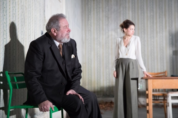 <p>David Fleeshman (Prof Serebrayakov) and Hara Yannas (Yelena)  in <em>Uncle Vanya</em></p><br />© Jonathan Keenan