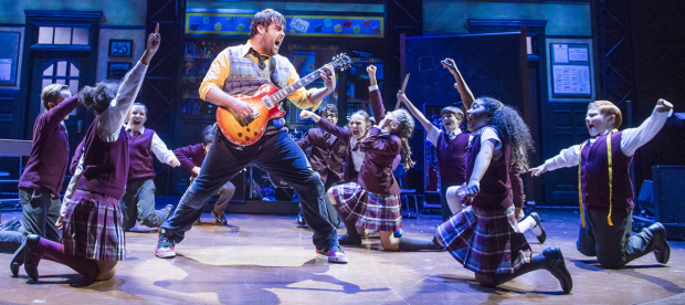 <p>David Fynn (Dewey Finn) and the cast of <em>School of Rock</em></p><br />© Tristram Kenton