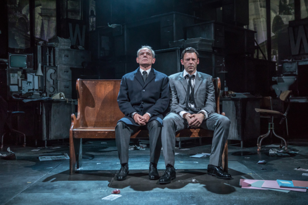 <p>David Schofield (Hugh Cudlipp) and Richard Coyle (Larry Lamb) in <em>Ink</em></p><br />© Marc Brenner