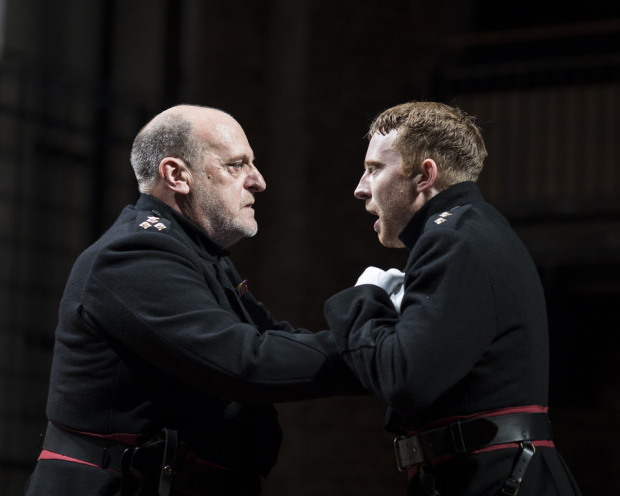 <p>David Troughton as Titus Andronicus and Tom McCall as Lucius</p><br />© Helen Maybanks