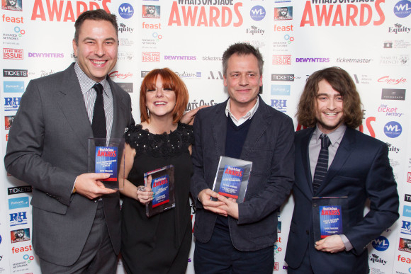 <p>David Walliams, Sheridan Smith, Michael Grandage and Daniel Radcliffe celebrate the Grandage season wins</p><br />© Dan Wooller for WhatsOnStage