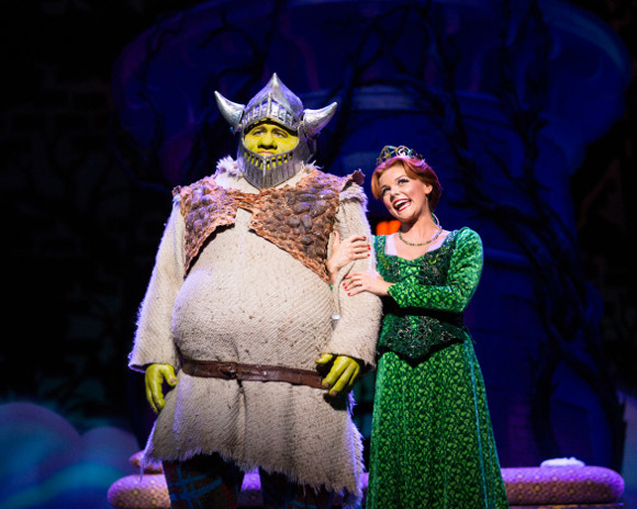 <p>Dean Chisnall as Shrek and Faye Brookes as Princess Fiona</p><br />© Helen Maybanks