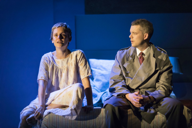 <p>Denise Gough (Harper) and Russell Tovey (Joseph) in <em>Angels in America - Millennium Approaches</em></p><br />(c) Helen Maybanks
