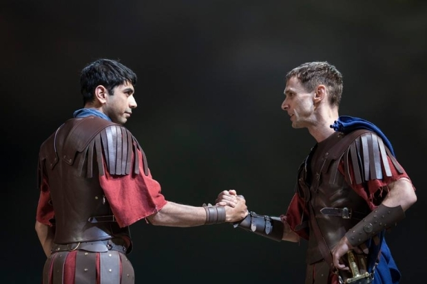 <p>Dharmesh Patel as Messala and Martin Hutson as Cassius</p><br />© Helen Maybanks