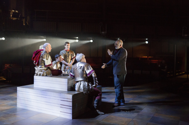 <p>Director Iqbal Khan talking with members of the <em>Antony &amp&#x3B; Cleopatra</em> company on stage at the Royal Shakespeare Theatre</p><br />© Andrew Fox