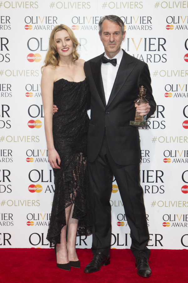 <p>Director Ivo Van Hove collects his award for <em>A View From the Bridge</em>, with presenter Laura Carmichael</p><br />© Dan Wooller