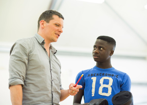 <p>Director Nigel Harman and Idriss Kargbo (Donkey)</p><br />© Helen Maybanks