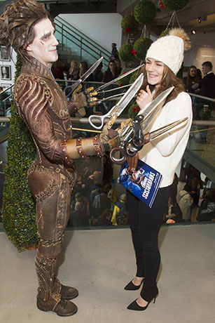 <p>Dominic North (Edward Scissorhands) and Kara Tointon</p><br />© Dan Wooller for WhatsOnStage