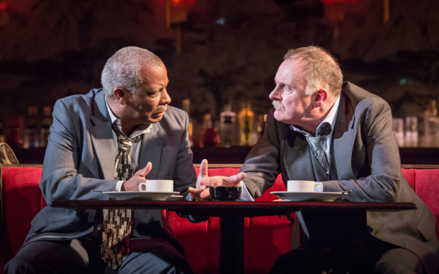 <p>Don Warrington and Robert Glenister in <em>Glengarry Glen Ross</em></p><br />© Marc Brenner