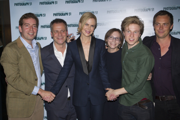 <p>Edward Bennett (Francis Crick), Michael Grandage (Director), Nicole Kidman (Rosalind Franklin), Anna Ziegler (Author), Will Attenborough (James Watson) and Stephen Campbell Moore (Maurice Wilkins)</p><br />© Dan Wooller for WhatsOnStage