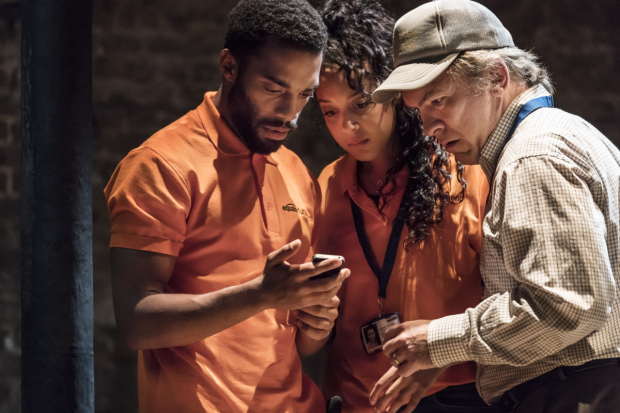 <p>Elliot Barnes-Worrell (Melvyn), Adelle Leonce (Tracey) and Martin McDougall (Manager)</p><br />© Johan Persson