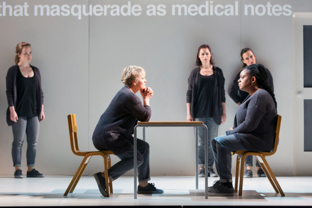 <p>Emily Edmonds, Lucy Schaufer, Susanna Hurrell, Gweneth-Ann Rand and Clare Presland in <em>4.48 Psychosis</em></p><br />© ROH/Stephen Cummiskey 2016
