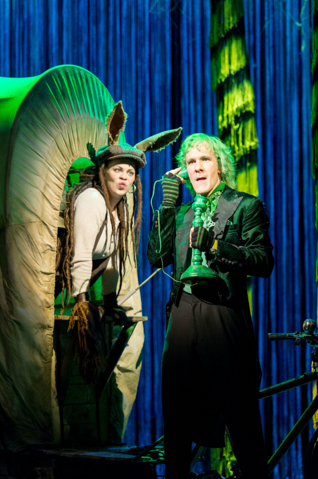<p>Emily Houghton (ensemble) and Simon Paisley Day (Once-ler) - <em>The Lorax</em></p><br />© Manuel Harlan.