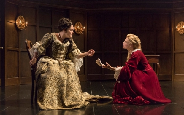 <p>Emma Cunniffe as Queen Anne and Romola Garai as Sarah Churchill</p><br />© Marc Brenner