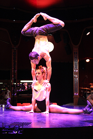 <p>Evelyne Allard and Danik Abishev perform on stage in <em>Limbo</em></p><br />© Ben Hewis