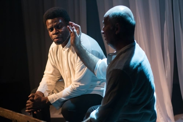 <p>Femi Eluwofoju Jr and Marcello Magni in <em>Out of Blixen</em></p><br />© Dan Fearon