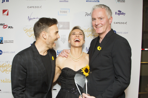 <p>Gary Barlow, Joanna Riding and Tim Firth accept the award for Best Regional Production for <em>The Girls</em></p><br />© Dan Wooller for WhatsOnStage