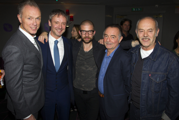 <p>Gary Kemp (Teddy), John Simm (Lenny), Jamie Lloyd (director), Ron Cook (Max) and Keith Allen (Sam)</p><br />© Dan Wooller for WhatsOnStage