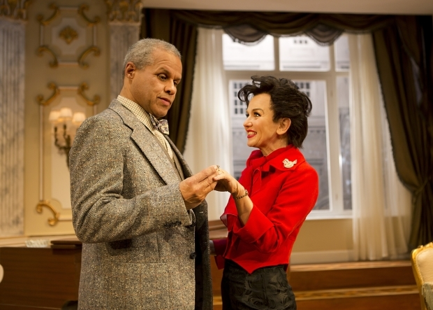<p>Gary Wilmot as Anthony and Lisa Maxwell as Judy Garland in<em> End of the Rainbow</em></p><br />©  Pamela Raith