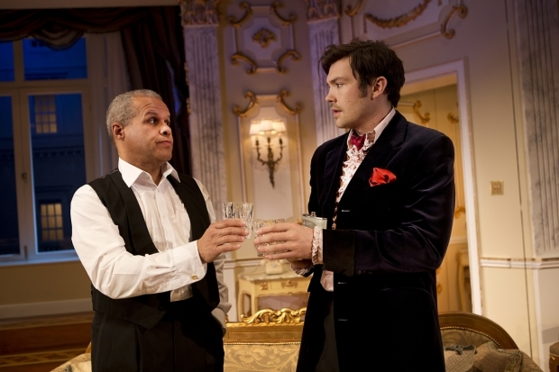<p>Gary Wilmot as Anthony and Sam Attwater as Mickey in <em>End of the Rainbow</em></p><br />©  Pamela Raith