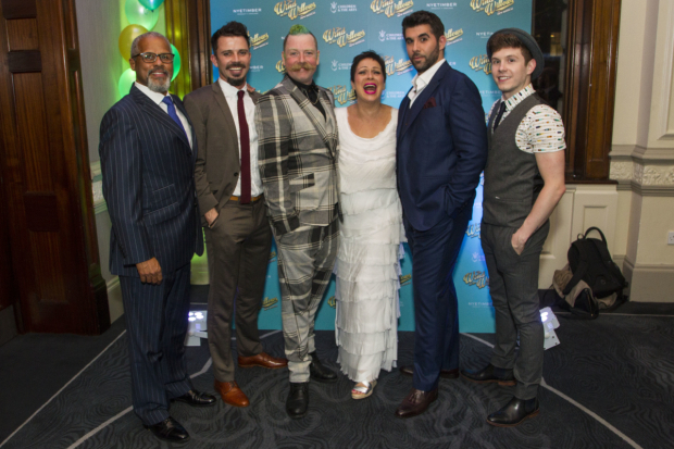 <p>Gary Wilmot (Badger), Neil McDermott (Chief Weasel), Rufus Hound (Mr Toad), Denise Welch (Mrs Otter), Simon Lipkin (Ratty) and Craig Mather (Mole)</p><br />© Dan Wooller for WhatsOnStage