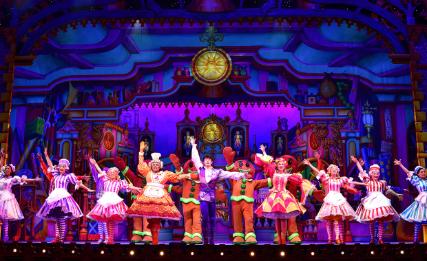 <p>Gary Wilmot (Sarah the Cook), Charlie Stemp (Dick Whittington) and Emma Williams (Alice Fitzwarren)</p><br />© Paul Coltas