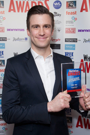 <p>Gavin Creel collects the Award for Best Actor in a Musical for <em>The Book of Mormon</em></p><br />© Dan Wooller for WhatsOnStage