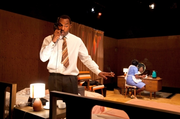 <p>Gbolahan Obisesan as Dr. Martin Luther King Jr. and Ronke Adékoluẹjo as Camae in <em>The Mountaintop</em></p><br />© David Sandison
