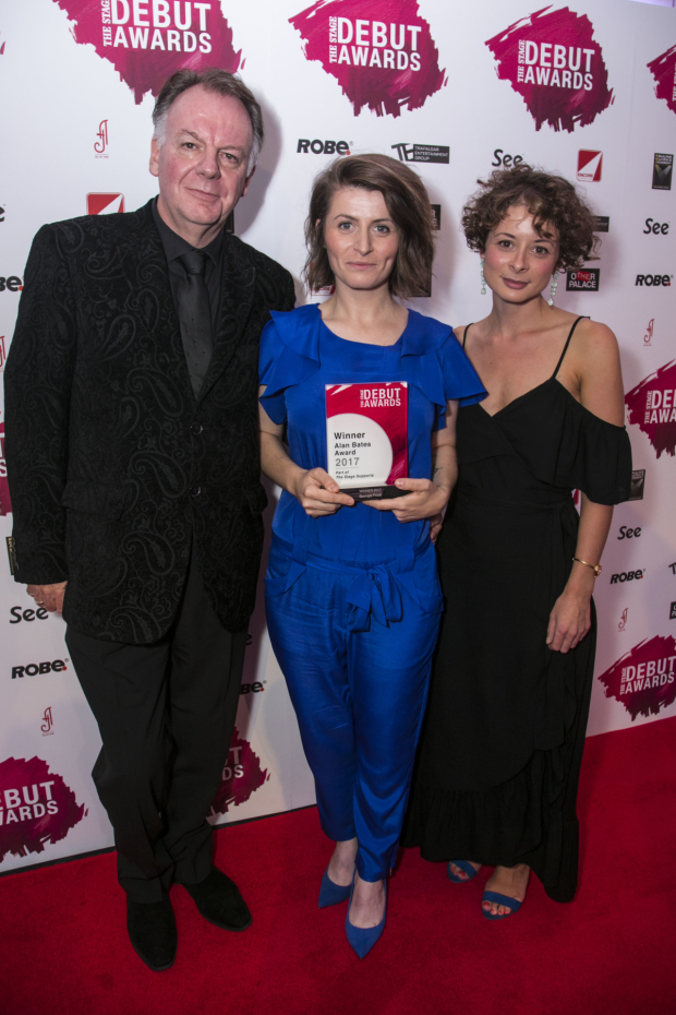 <p>Georgia Frost accepts the Alan Bates Award, presented by Paul Clayton and Faye Costello</p><br />© Dan Wooller