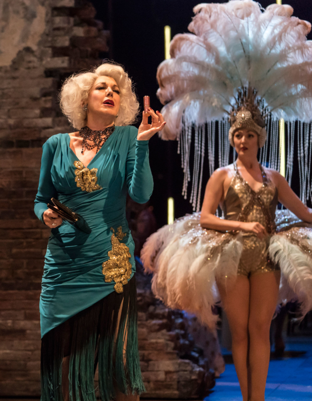 <p>Geraldine Fitzgerald as Solange LaFitte and Sarah Marie Maxwell as Young Solange  in <em>Follies</em> at the National Theatre</p><br />© Johan Persson