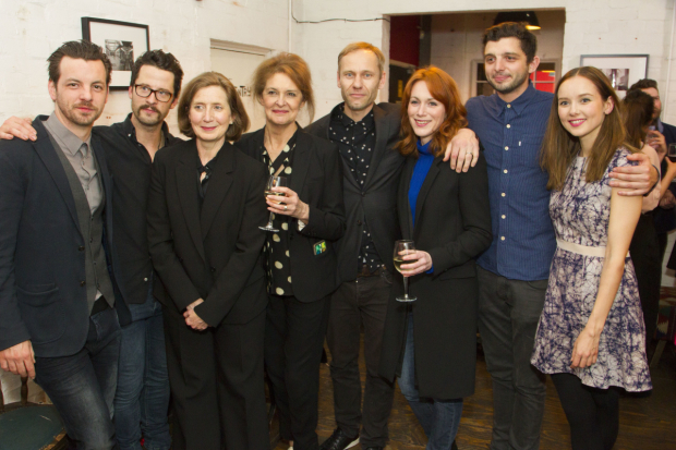 <p>Gethin Anthony (Jake), Robert Lonsdale (Mike), Nancy Crane (Meg), Kate Fahy (Lorraine), James Hillier (director), Laura Rogers (Sally), Michael Fox (Frankie) and Alexandra Dowling (Beth)</p><br />© Dan Wooller for WhatsOnStage