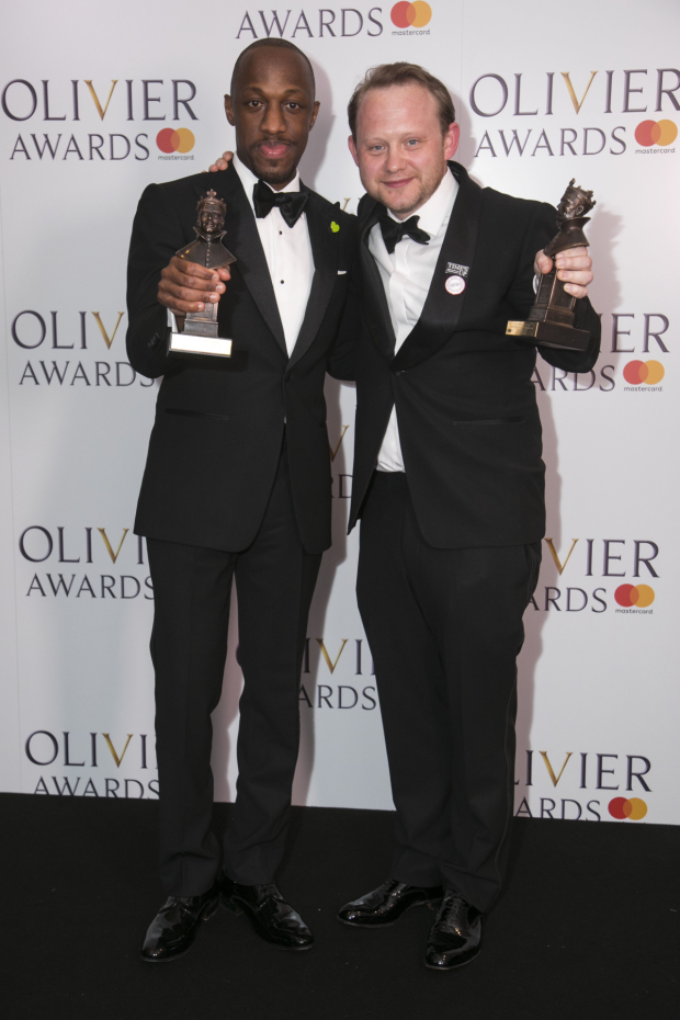 <p>Giles Terera, winner of Best Actor in a Musical and Michael Jibson, winner of Best Supporting Actor in a Musical</p><br />© Dan Wooller