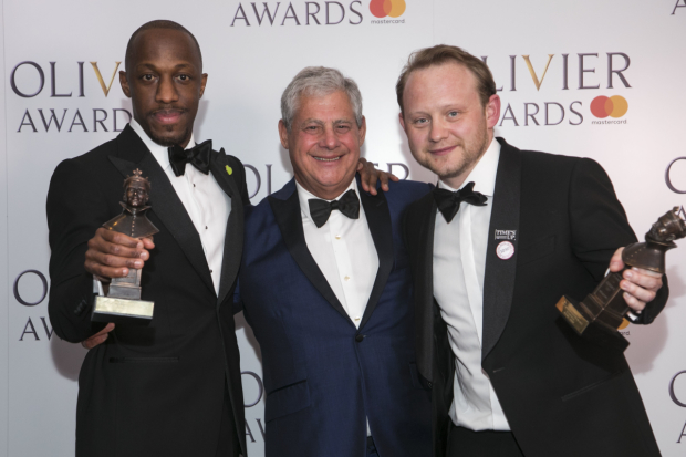 <p>Giles Terera, winner of Best Actor in a Musical, Cameron Mackintosh and Michael Jibson, winner of Best Supporting Actor in a Musical</p><br />© Dan Wooller